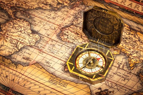 Foto stock: Vintage · pirata · bússola · antigo · mapa · retro