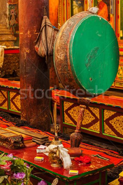 Ritual drum in Hemis monastery. Ladakh, India Stock photo © dmitry_rukhlenko