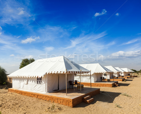 Tent camp in Thar desert. Jaisalmer, Rajasthan, India. Stock photo © dmitry_rukhlenko