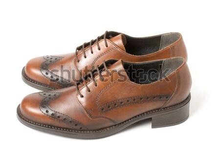 Stok fotoğraf: Kahverengi · ayakkabı · yalıtılmış · beyaz · kız · arka · plan