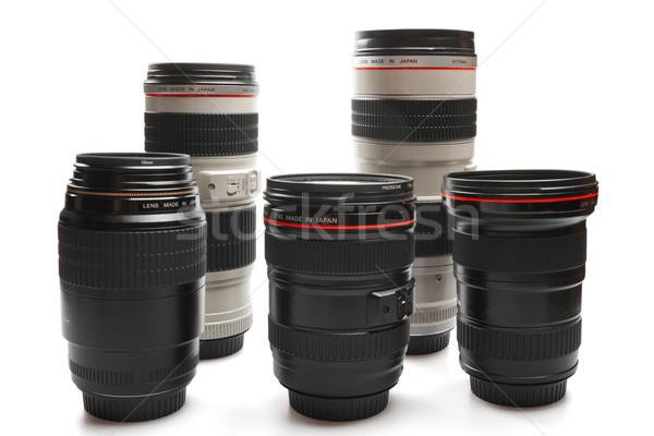 Conjunto câmera lentes isolado branco estúdio Foto stock © dmitry_rukhlenko