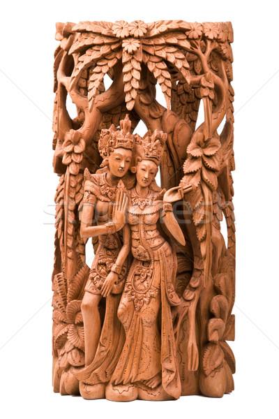 Vrouw hout mythologie cultuur sculptuur Indië Stockfoto © dmitry_rukhlenko