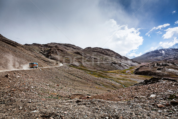 Manali-Leh Road in Indian Himalayas with lorry Stock photo © dmitry_rukhlenko