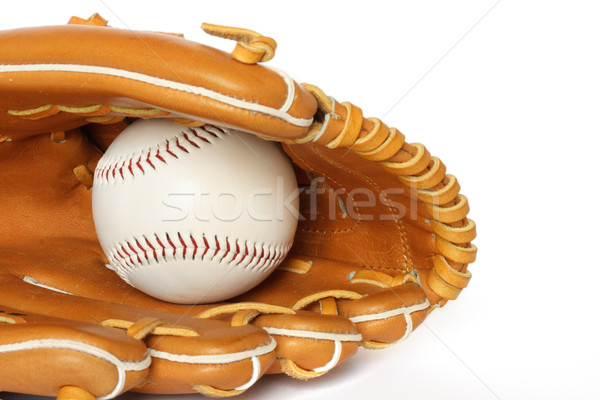 Baseball catcher mitt with ball on white background  Stock photo © dmitry_rukhlenko