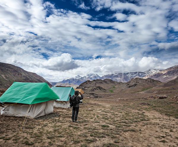 カメラマン 写真 ヒマラヤ山脈 山 携帯電話 ストックフォト © dmitry_rukhlenko