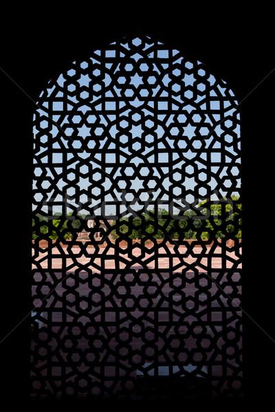 Marble carved screen window at Humayun's Tomb, Delhi  Stock photo © dmitry_rukhlenko
