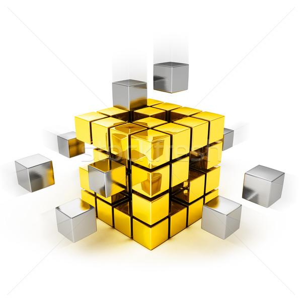 Photo stock: Travail · d'équipe · métal · cubes · or · une · affaires