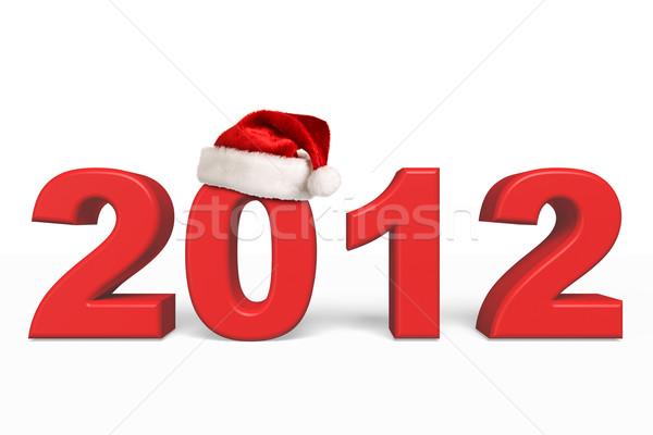 Photo stock: 2012 · nouvelle · année · Noël · chapeau · studio · célébration