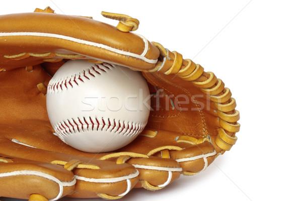 Baseball catcher mitt with ball isolated on white background clo Stock photo © dmitry_rukhlenko