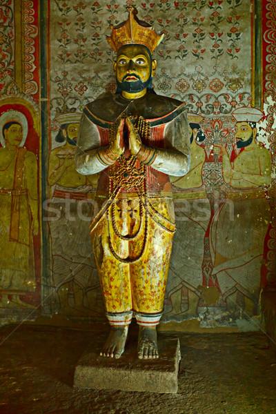 Oude koning afbeelding rock tempel Sri Lanka Stockfoto © dmitry_rukhlenko