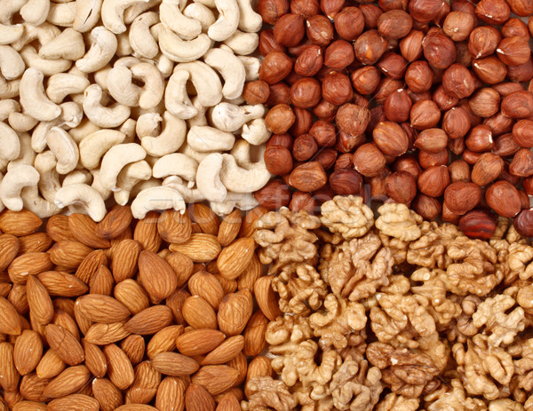 Different  nuts (almons, cashews, walnuts and filbers) close up Stock photo © dmitry_rukhlenko