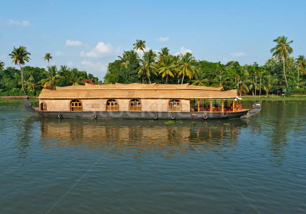 Photo stock: Inde · eau · coucher · du · soleil · Palm · Voyage · navire