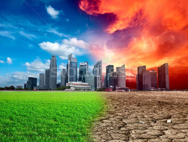 Calentamiento global efecto ciudad hierba sol naturaleza Foto stock © dmitry_rukhlenko
