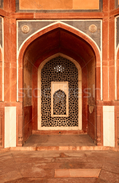 Arco mármore janela estilo túmulo Délhi Foto stock © dmitry_rukhlenko