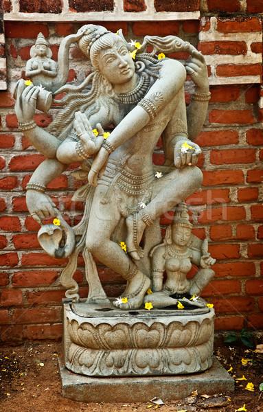 Shiva heykel dans taş Hindistan çiçek Stok fotoğraf © dmitry_rukhlenko