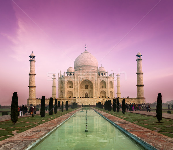 Photo stock: Taj · Mahal · coucher · du · soleil · Inde · indian · symbole · Voyage