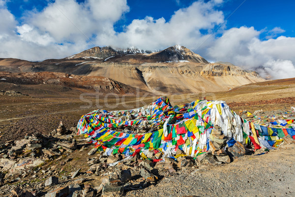 Buddhist prayer flags (lungta) on Baralacha La pass in Himalayas Stock photo © dmitry_rukhlenko