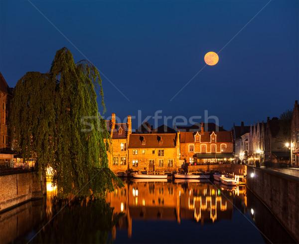 Belçika kanal ortaçağ evler tan ev Stok fotoğraf © dmitry_rukhlenko
