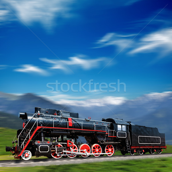 Speeding old locomotive in mountains with motion blur Stock photo © dmitry_rukhlenko