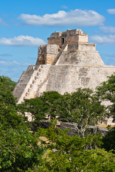 Mayan pyramid (Pyramid of the Magician, Adivino) in Uxmal, Mexic Stock photo © dmitry_rukhlenko