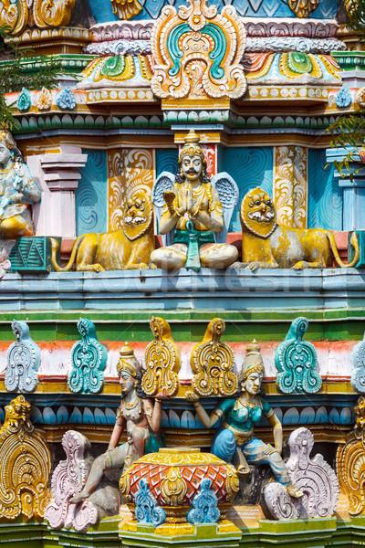 Sculptures on Hindu temple gopura (tower) Stock photo © dmitry_rukhlenko