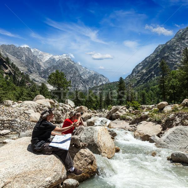 Hikers with map Stock photo © dmitry_rukhlenko