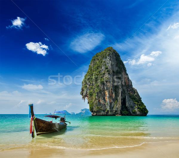 Uzun kuyruk tekne plaj Tayland tropikal Stok fotoğraf © dmitry_rukhlenko