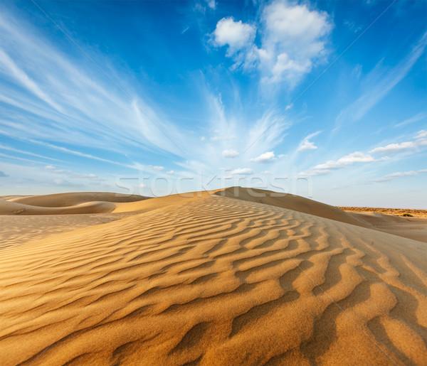 Deserto Índia areia céu pôr do sol terra Foto stock © dmitry_rukhlenko