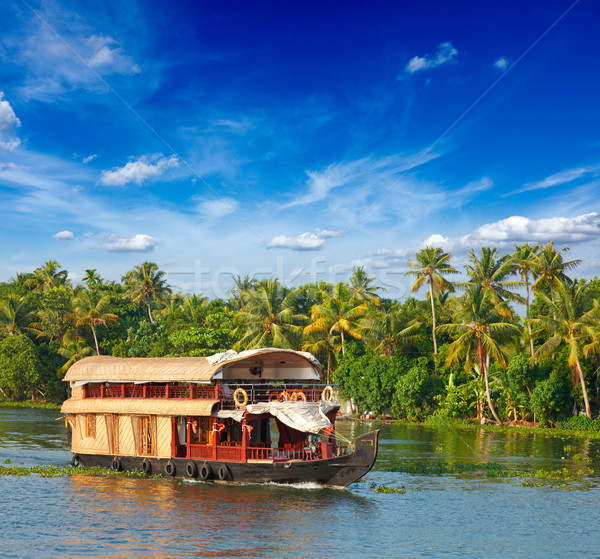 Houseboat on Kerala backwaters, India Stock photo © dmitry_rukhlenko