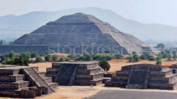 Panorama of Teotihuacan Pyramids Stock photo © dmitry_rukhlenko