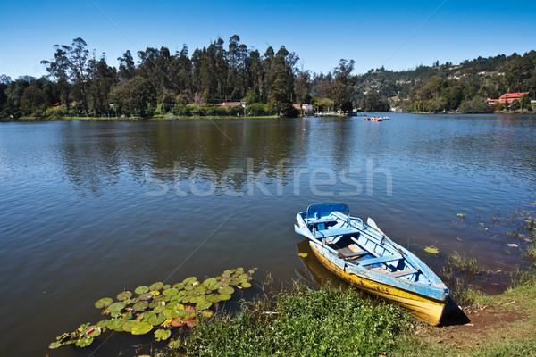 Boat in lake. Kodaikanal, Tamil Nadu, India Stock photo © dmitry_rukhlenko