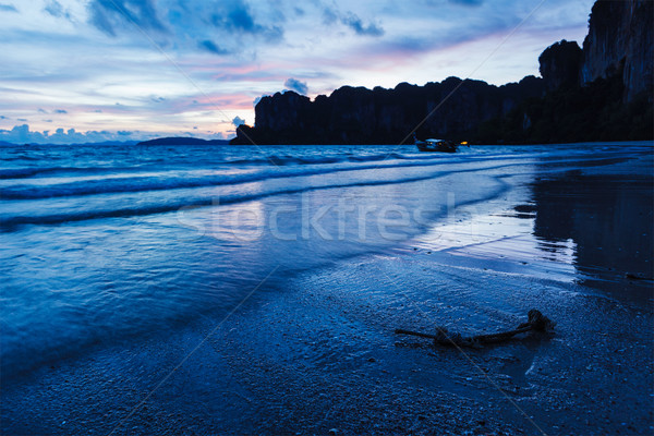 Stok fotoğraf: Gün · batımı · plaj · krabi · Tayland · tropikal · tatil