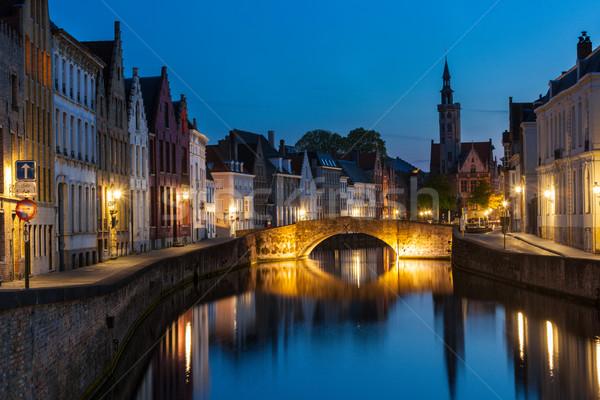 Bélgica canal noite noite cenário Foto stock © dmitry_rukhlenko
