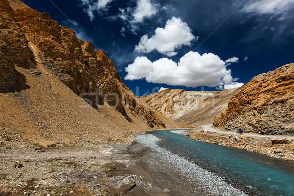 Himalája tájkép motorbicikli égbolt természet kék Stock fotó © dmitry_rukhlenko