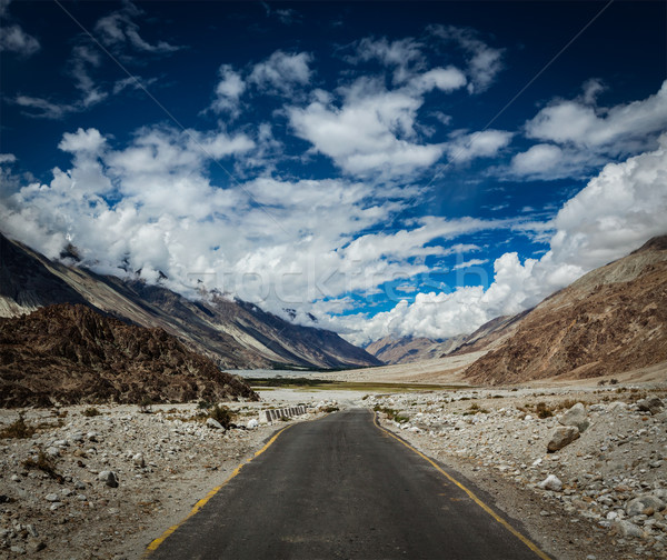 Road in Himalayan landscape in Nubra valley in Himalayas Stock photo © dmitry_rukhlenko