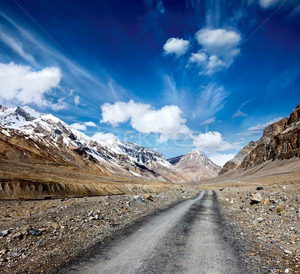 Estrada himalaia montanhas vale céu nuvens Foto stock © dmitry_rukhlenko