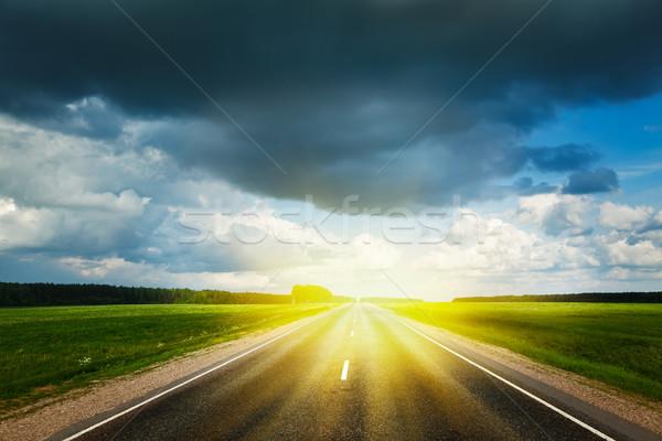 Route orageux ciel Voyage paysage tempête Photo stock © dmitry_rukhlenko