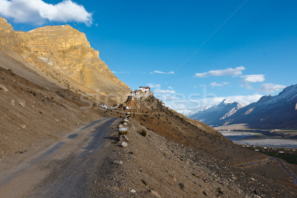 Road to Kee (Ki, Key) Monastery. Spiti Valley,  Himachal Pradesh Stock photo © dmitry_rukhlenko