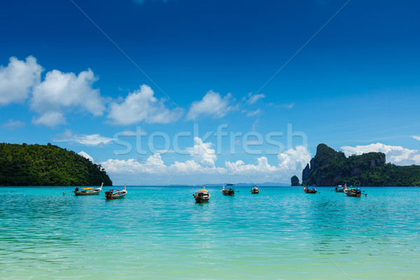Longo cauda barcos Tailândia ilha krabi Foto stock © dmitry_rukhlenko