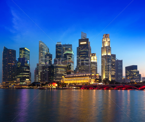 Singapore skyline and river in evening Stock photo © dmitry_rukhlenko