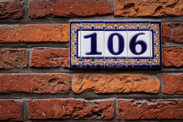 Dekore edilmiş ev numara tuğla duvar Avrupa Stok fotoğraf © dmitry_rukhlenko