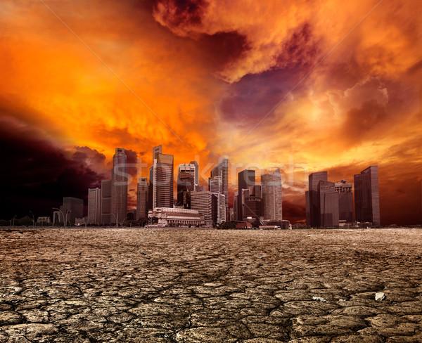 Miasta opuszczony krajobraz pustyni pęknięty ziemi Zdjęcia stock © dmitry_rukhlenko