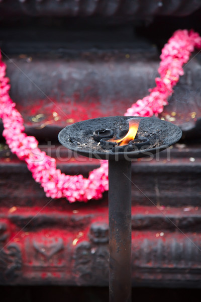 Burning flame in Hindu temple Stock photo © dmitry_rukhlenko