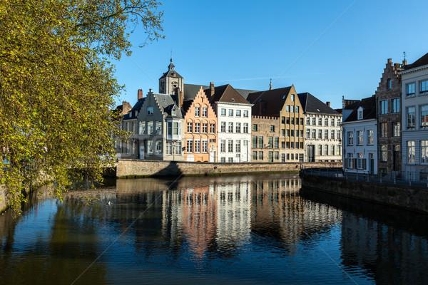 Бельгия канал средневековых домах воды дома Сток-фото © dmitry_rukhlenko