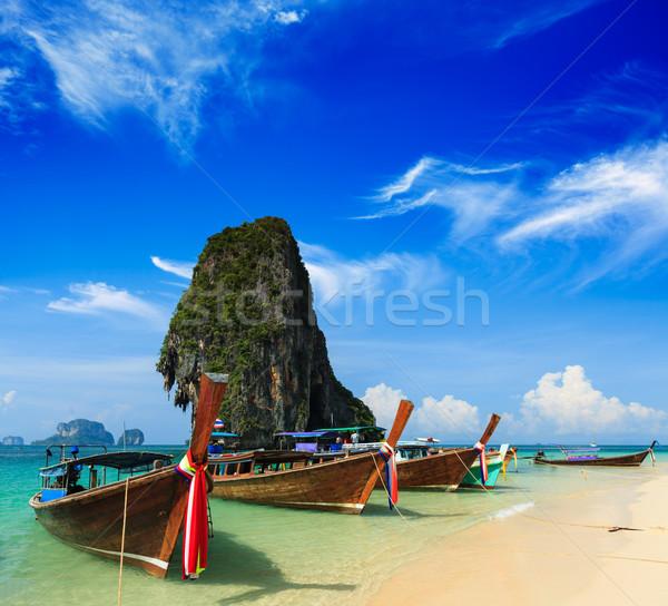 Longo cauda barco praia Tailândia praia tropical Foto stock © dmitry_rukhlenko