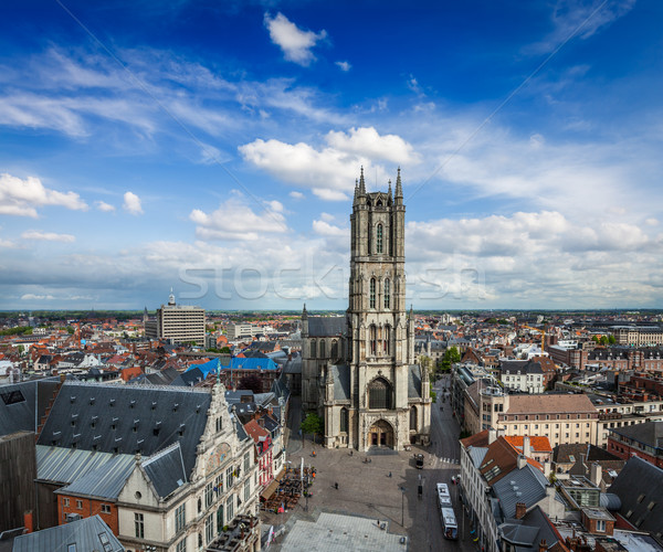 Saint Bavo Cathedral and Sint-Baafsplein, view from Belfry. Ghen Stock photo © dmitry_rukhlenko