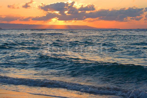 Oceano praia tropical nascer do sol pacífico Foto stock © dmitry_rukhlenko