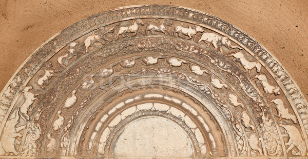 Ancient moonstone at the entrance of Buddhist dagoba Stock photo © dmitry_rukhlenko