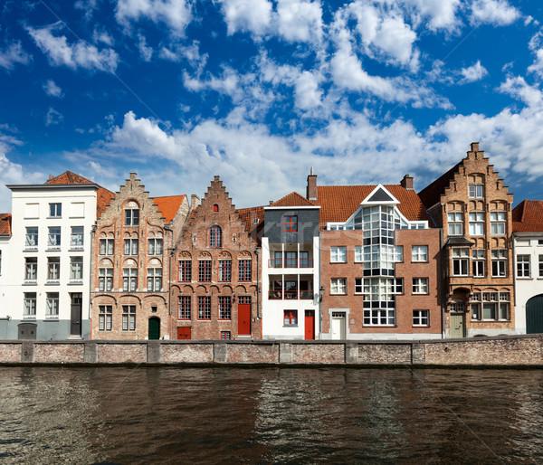 Belçika kanal ortaçağ evler doğa ev Stok fotoğraf © dmitry_rukhlenko