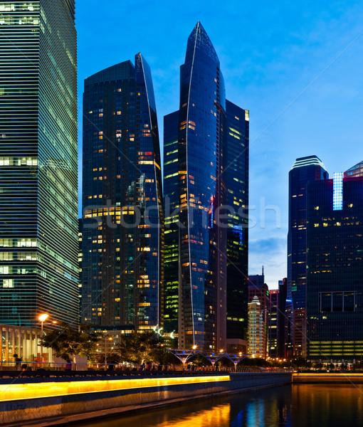 Stok fotoğraf: Singapur · şehir · merkezinde · akşam · iş · gökdelenler